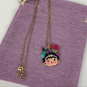 Gold filled Necklace Miyuki beads Frida Khalo